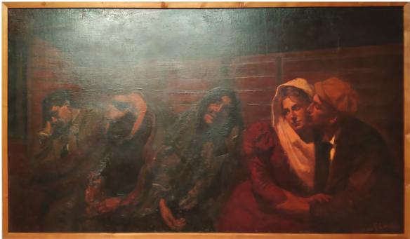 """Gaele Covelli, """"Idillio Fugace"""", 1989 olio su tela, 110x192,5 cm, Bologna MAMBo, Museo d'arte moderna"""